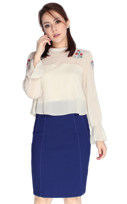 Embroidered Dual Layer Top - Cream