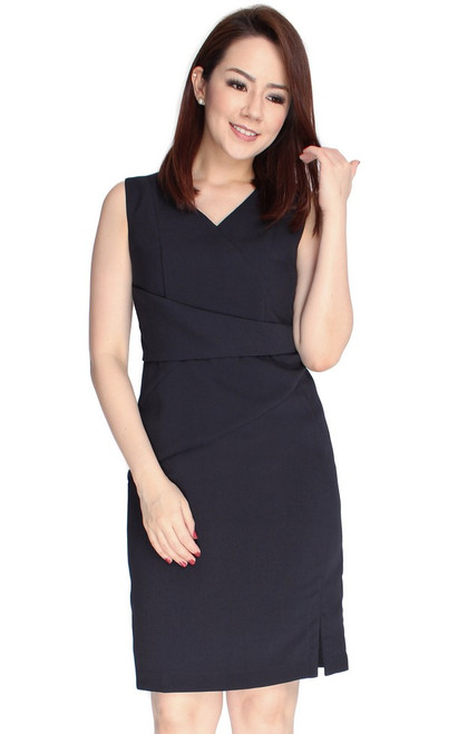 Origami Pencil Dress - Midnight Blue