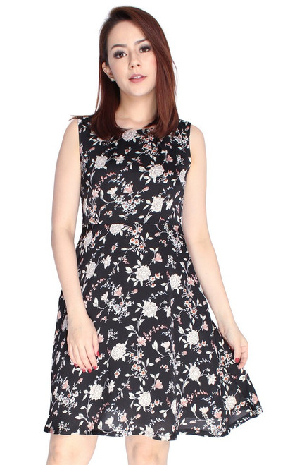 Floral Flare Dress - Black