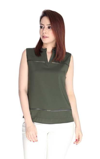Ladder Trim Notch Neck Top - Olive