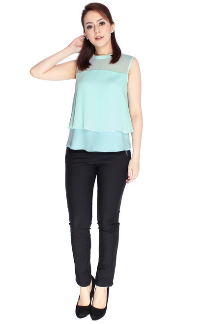 Dual Layer Chiffon Top - Soft Mint