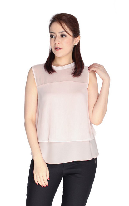 Dual Layer Chiffon Top - Pink
