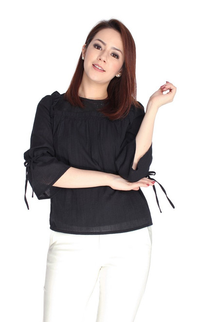 Eyelet Panel Tie Sleeves Top - Black