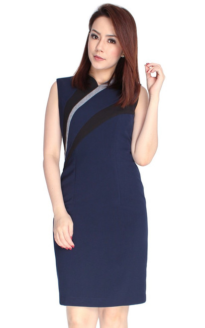 Contrast Panels Pencil Dress