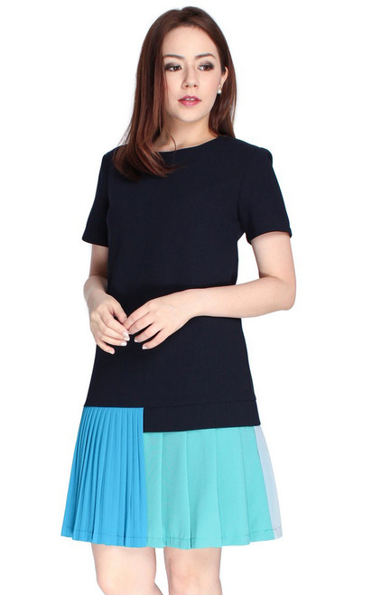 Colourblock Pleated Hem Dress - Blue