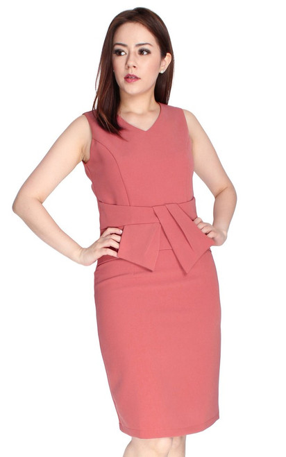 Bow Waist Pencil Dress - Salmon Pink