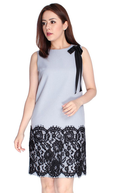 Lace Hem Shift Dress - Grey