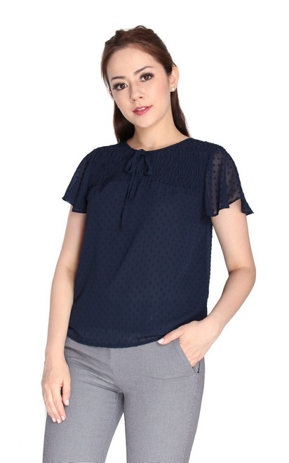Swiss Dots Chiffon Top - Navy