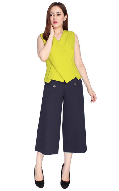 Criss Cross Structured Top - Chartreuse