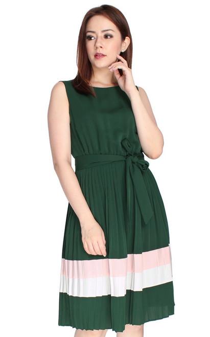 Pleated Colourblock Dress - Forest Green