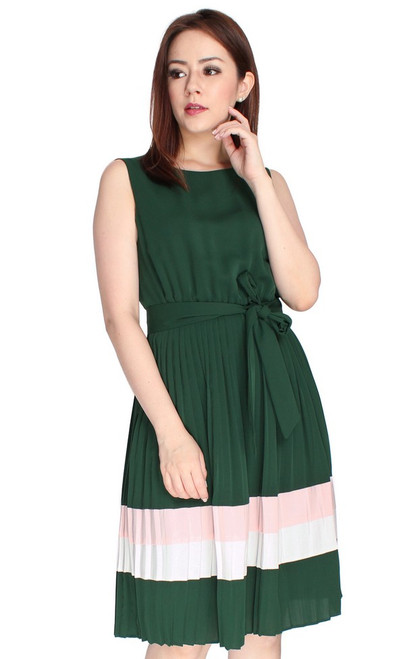 Pleated Colourblock Dress - Forest Green
