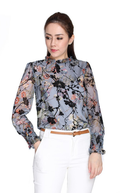 Floral Velvet Chiffon Top - Blue Grey