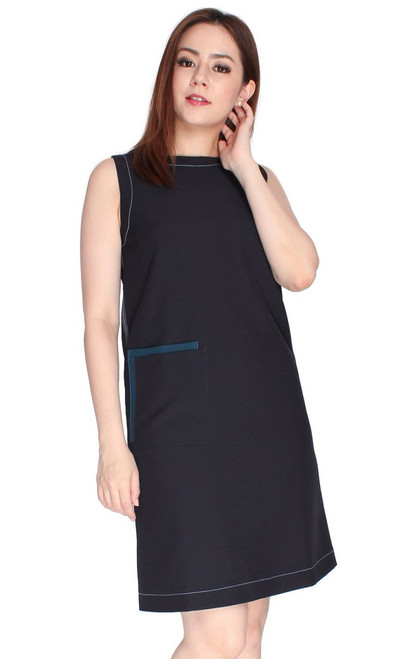 Patch Pocket Shift Dress - Midnight Blue