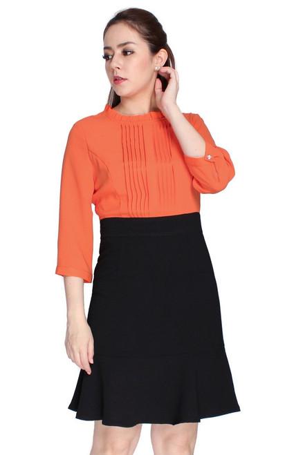 Pintuck Flute Hem Dress - Orange
