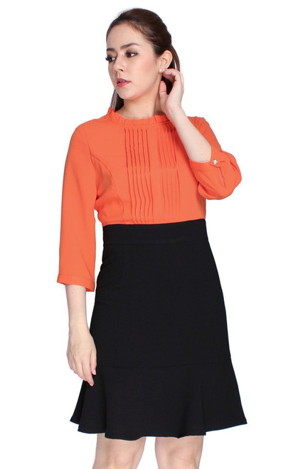 Pintuck Flute Hem Dress - Orange