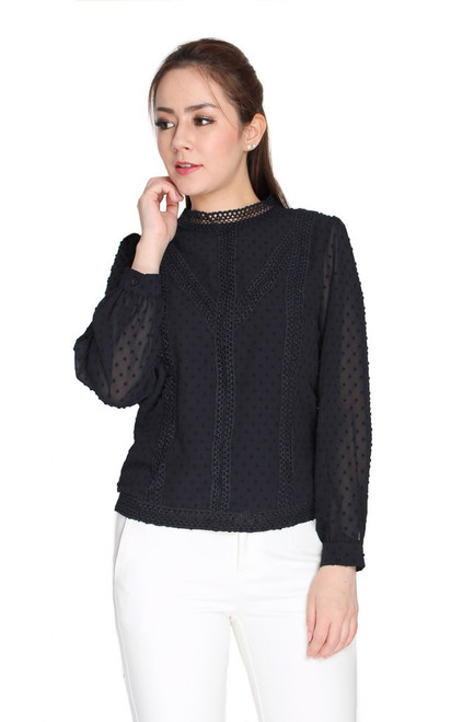 Crochet Lace Chiffon Top - Black