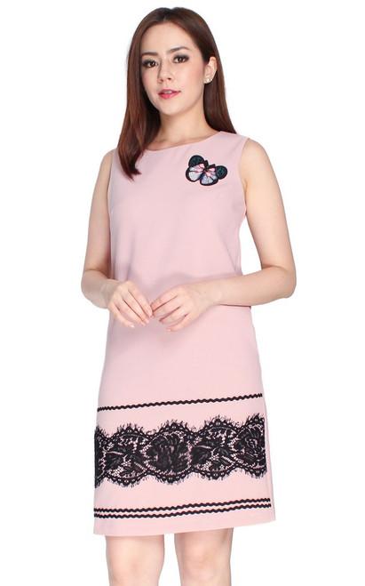 Lace Hem Shift Dress - Dusty Pink