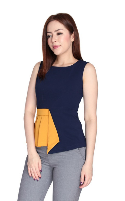Asymmetrical Colourblock Top - Navy