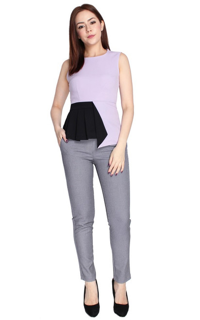Asymmetrical Colourblock Top - Lilac