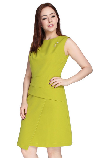 Origami Wrap Over Dress - Chartreuse