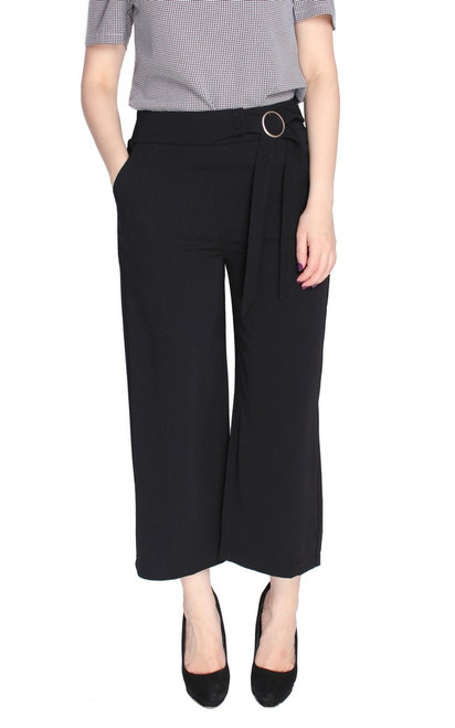 Side Buckle Ankle Culottes - Black