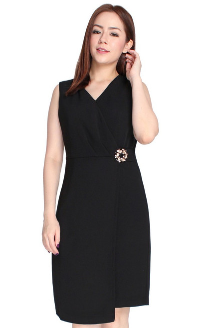 Brooch Wrap Over Dress - Black