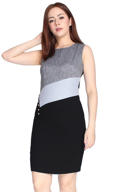 Side Buttons Colourblock Dress - Heather Grey