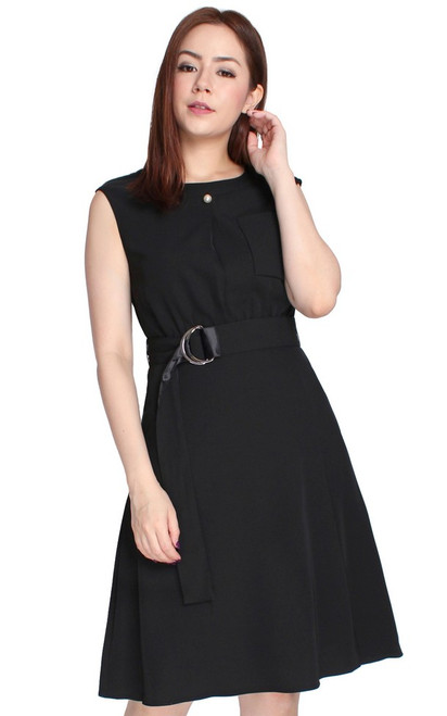 D-Ring Fit & Flare Dress - Black