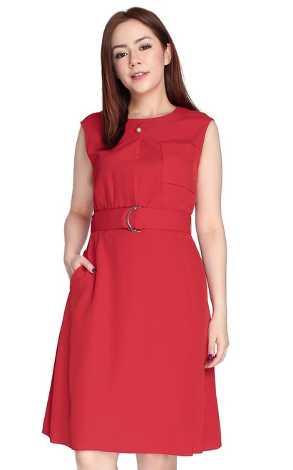 D-Ring Fit & Flare Dress - Red