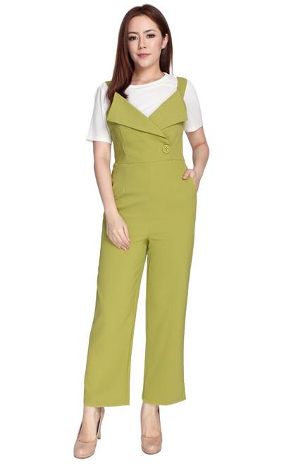 Tux Lapel Jumpsuit - Chartreuse