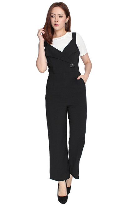 Tux Lapel Jumpsuit - Black