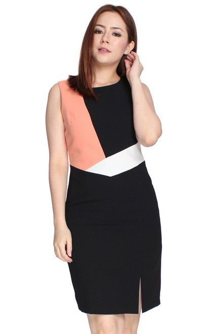 Colourblock Pencil Dress - Black