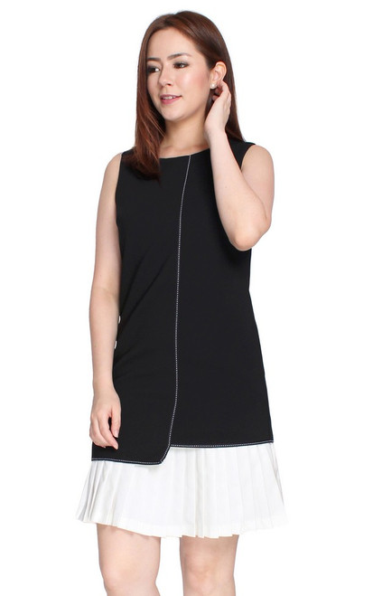 Contrast Pleated Hem Dress - Monochrome