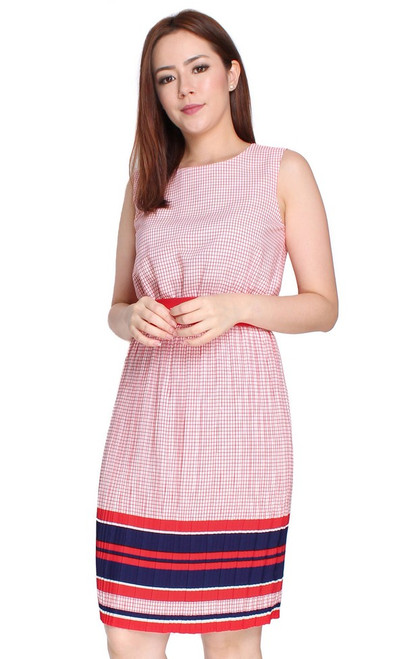 Colourblock Hem Pleated Dress - Red