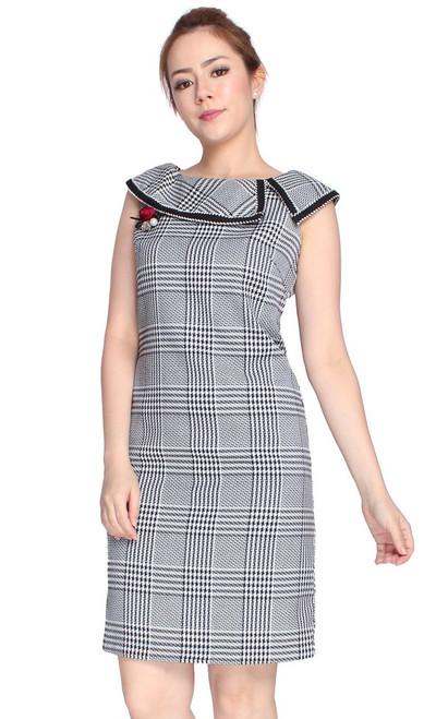 Checkered Boat Neck Dress