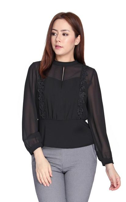 Crochet Blouson Chiffon Top - Black