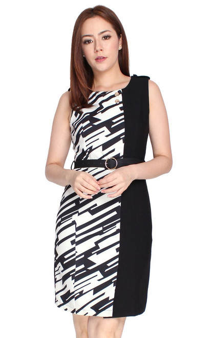 Contrast Panel Pencil Dress - Printed