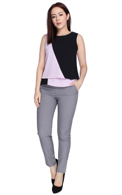 Colourblock Layered Top - Lilac