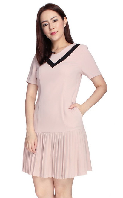 Varsity Pleated Drop Waist Dress - Dusty Pink