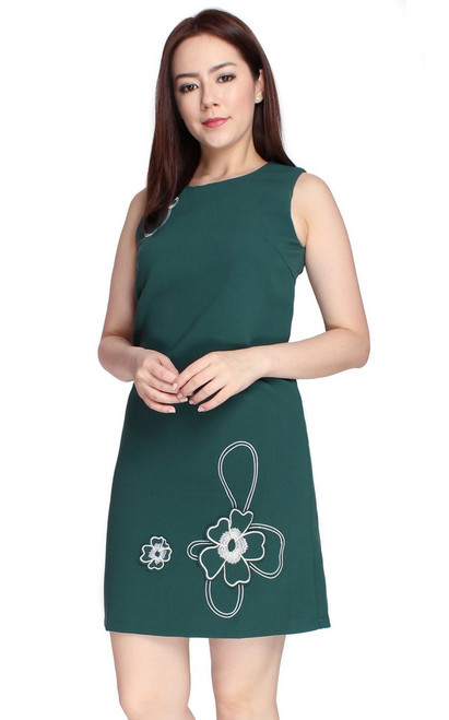 Floral Motif Shift Dress - Forest Green