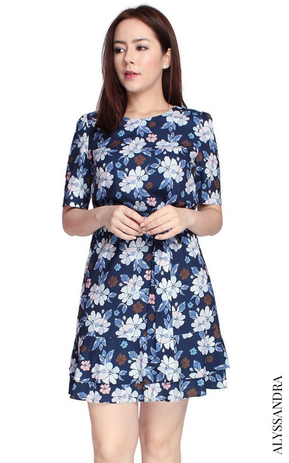 Floral Tiered Hem Dress - Navy
