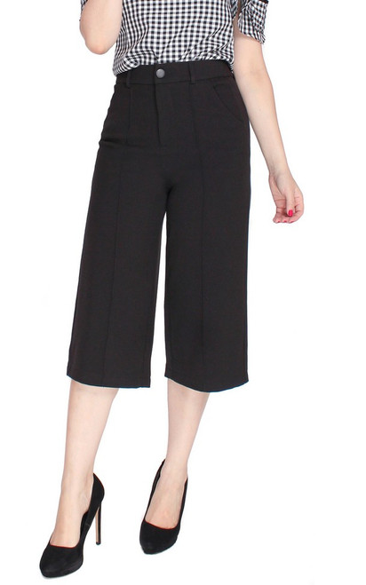 Pintuck Culottes - Black