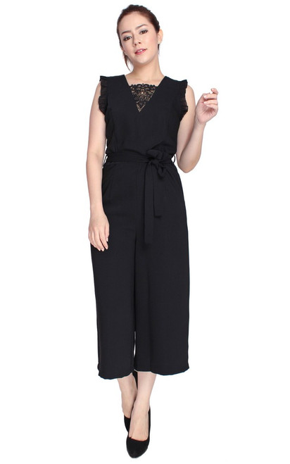 Lace Insert Jumpsuit - Black