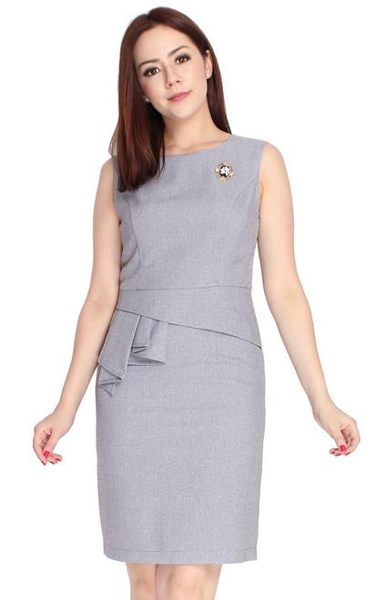 Asymmetrical Pleated Peplum Dress