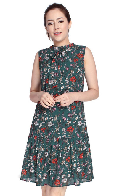 Floral Drop Waist Dress - Forest Green