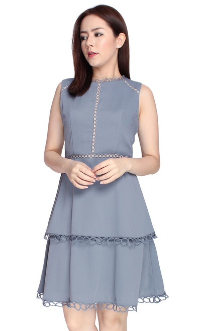 Eyelet Trim Tiered Dress - Ash Blue