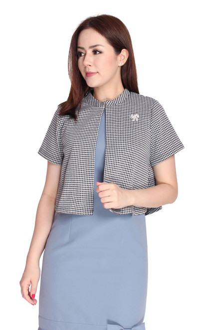 Cape Bolero Jacket - Houndstooth