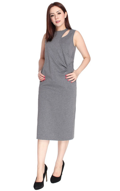 Ruched Keyhole Midi Dress - Heather Grey