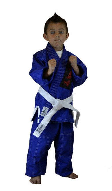 Kids gold weave blue contrast  stitch gi