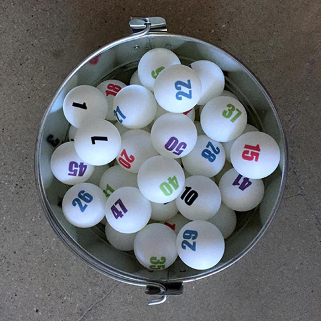 Individually Numbered White Ping Pong Balls